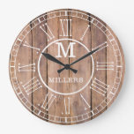 Rustic Family Name Monogram Brown Wood Large Clock