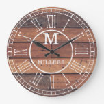 Rustic Family Name Wood Plank Monogram Large Clock