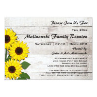 Rustic Family Reunion Sunflowers Invitations