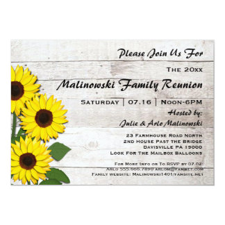 Rustic Family Reunion Sunflowers Invitations  Family Reunion Invitation Cards
