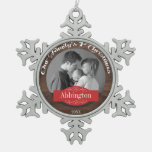 Rustic Family's 1st Christmas Photo Snowflake Snowflake Pewter Christmas Ornament