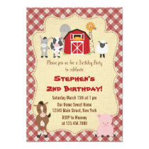 Rustic Farm Animal Birthday Party Invitation