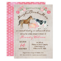 Rustic Farm Animals Girls Baby Shower Invitation