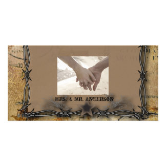 Rustic Farm Barbed Wire country wedding Photo Card