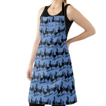 Rustic farm chickens blue family monogram apron
