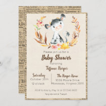 Rustic Farm Cow Baby Shower Invitation