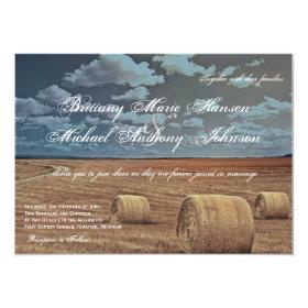 Rustic Farm Hay Field Country Wedding Invitations