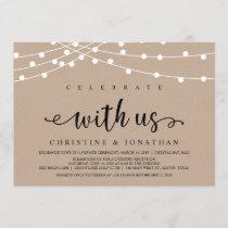 Rustic Farm String Lights, Kraft Wedding Elopement Invitation