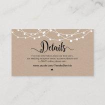 Rustic Farm String Lights, Wedding Details Enclosure Card