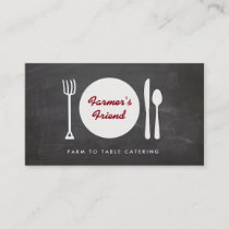 Rustic Farm to Table Catering Chalkboard Business Card