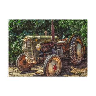 Rustic farm tractor canvas print