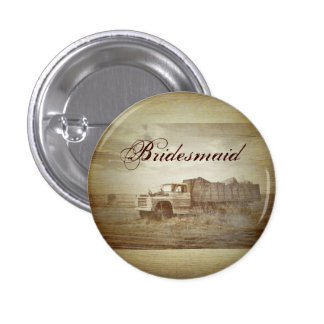 Rustic Farm Truck Western Country bridesmaid Pinback Button