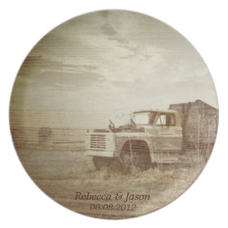 Rustic Farm Truck Western Country Wedding Dinner Plate
