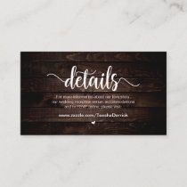 Rustic Farm Wood,  Wedding Details Enclosure Card