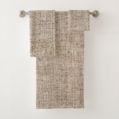 Rustic Farmhouse Burlap Bath Towel Set