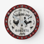 Rustic Farmhouse Chicken Coop Wood Plaid Custom Round Clock