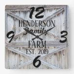 Rustic Farmhouse Country Wooden Distressed Custom Square Wall Clock