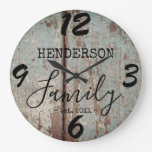 Rustic Farmhouse Distressed Faux Wood Family Name Large Clock