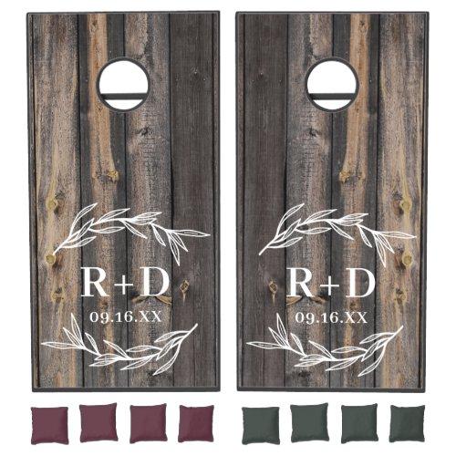 Rustic Farmhouse Dual Monogram Wedding Cornhole Set