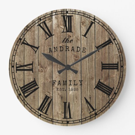 Rustic Farmhouse Family Name Wood Planks Country Large Clock