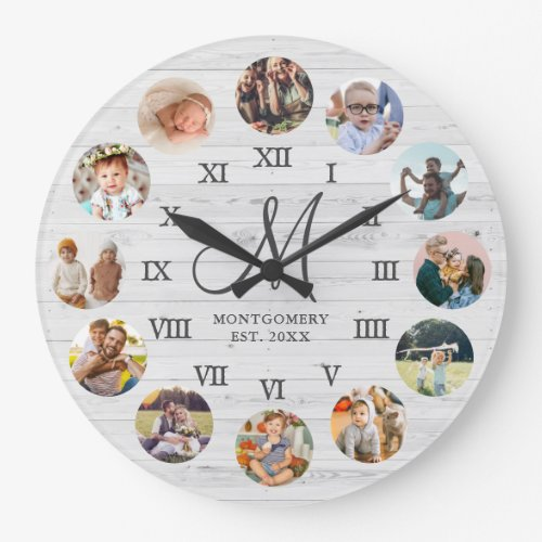 Rustic Farmhouse Family Photo Collage Monogram Large Clock