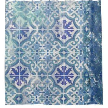 Rustic Farmhouse Old Havana Tile Ocean Blue Beach Shower Curtain