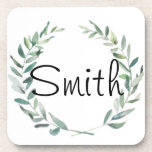 """Rustic Farmhouse Watercolor Magnolia Wreath Design Beverage Coaster<br><div class=""""desc"""">Rustic Farmhouse Watercolor Magnolia Wreath Design  