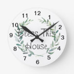 Rustic Farmhouse Watercolor Magnolia Wreath Design Round Clock