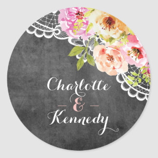 Rustic Farmhouse Wedding Roses & Lace Chalkboard Classic Round Sticker