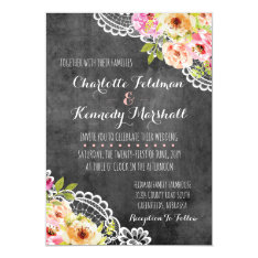 Rustic Farmhouse Wedding Roses & Lace Invitation at Zazzle