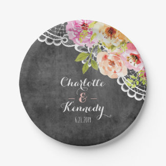 Rustic Farmhouse Wedding Roses & Lace Personalized Paper Plate