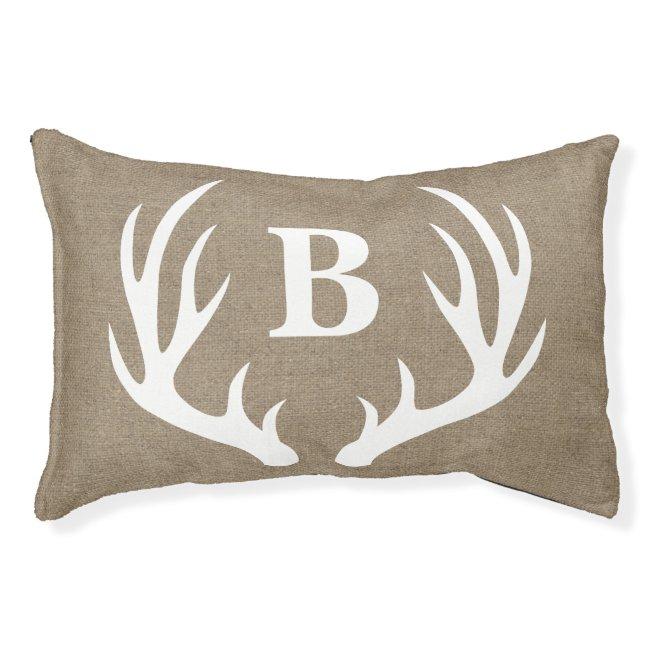 Rustic Farmhouse White Deer Antlers Faux Burlap Pet Bed