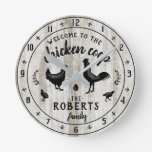 Rustic Farmhouse Wood Chicken Coop Custom Name Round Clock