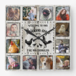 Rustic Farmhouse Wood Chicken Coop Photo Collage Square Wall Clock
