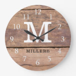 Rustic Farmhouse Wood Family Name Monogrammed Large Clock