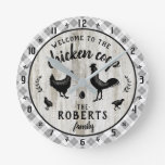 Rustic Farmhouse Wood Plaid Chicken Coop Custom Round Clock