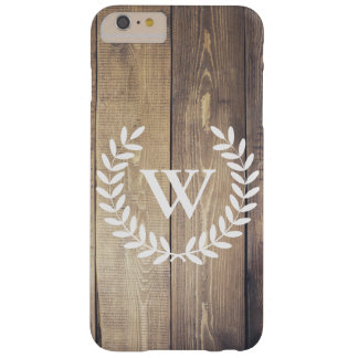 Rustic Farmhouse Wood White Laurels Monogram Barely There iPhone 6 Plus Case