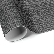 Rustic Faux Black Burlap Texture Wrapping Paper