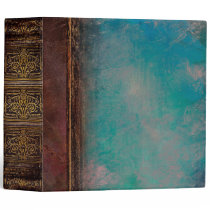 Rustic Faux Brown Leather and Turquoise 3 Ring Binder