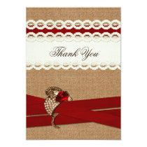 rustic, FAUX burlap and lace,  wedding thank you Card
