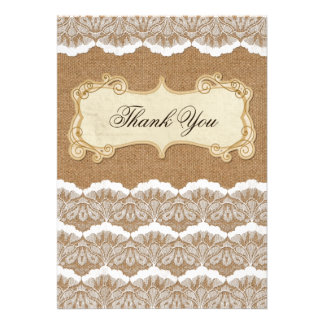rustic, FAUX burlap and lace,  wedding thank you Announcements