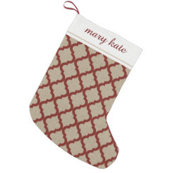 Rustic Faux Burlap and Red Moroccan Quatrefoil Small Christmas Stocking