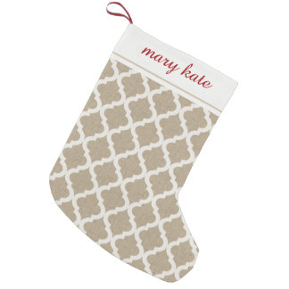 Rustic Faux Burlap and White Moroccan Quatrefoil Small Christmas Stocking