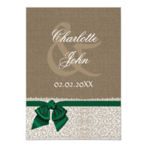 rustic, FAUX burlap emerald green  thank you Card