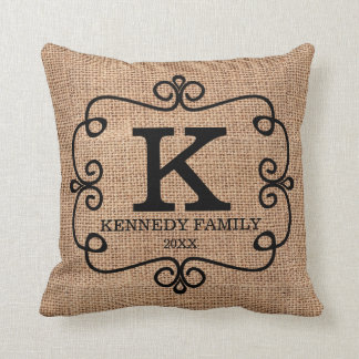 Rustic Faux Burlap Family Name Monogrammed Throw Pillow
