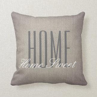 Rustic Faux Burlap Home Sweet Home Pillow