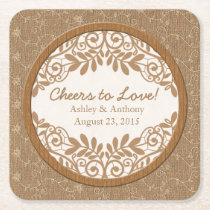 Rustic Faux Burlap Lace Wood Wedding Personalized Square Paper Coaster