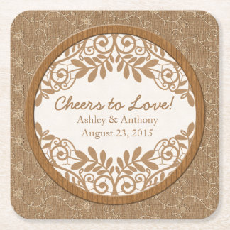 Rustic Faux Burlap Lace Wood Wedding Personalized Square Paper Coaster