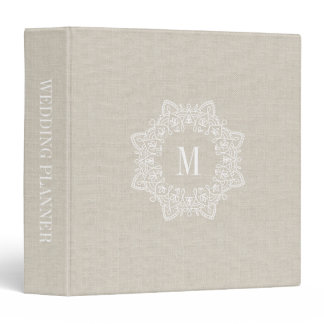 Rustic Faux Burlap Monogram Wedding Binder