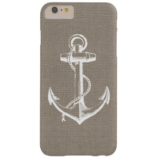 Rustic Faux Burlap Vintage Anchor Barely There iPhone 6 Plus Case